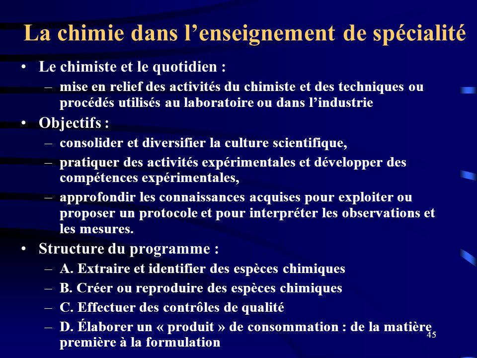 La chimie dans l'enseignement de spécialité
