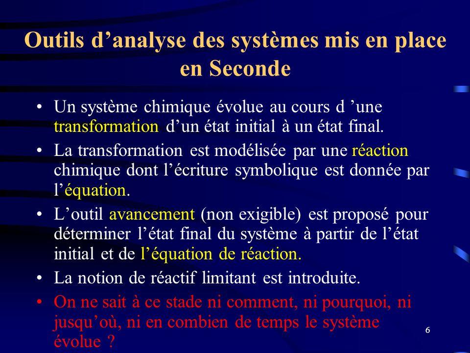Outils d'analyse des systèmes mis en place en Seconde