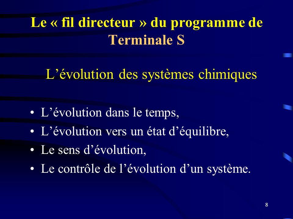 Le « fil directeur » du programme de Terminale S