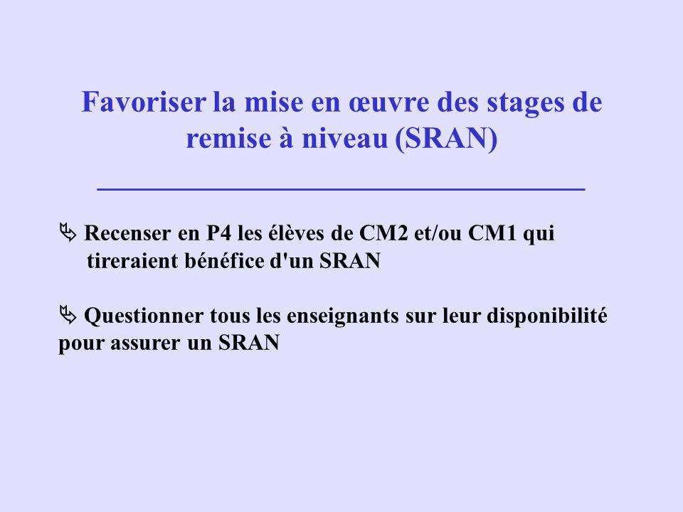 Favoriser la mise en œuvre des stages de remise à niveau (SRAN)