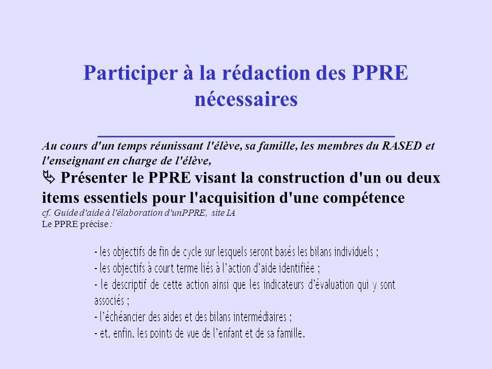 Participer à la rédaction des PPRE nécessaires