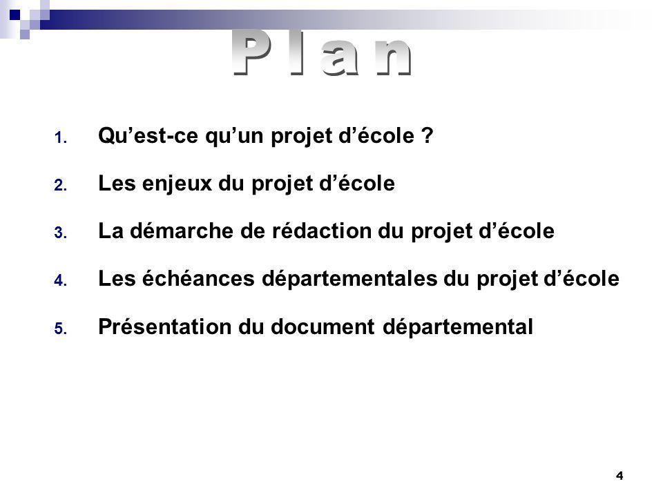 Plan Qu'est-ce qu'un projet d'école Les enjeux du projet d'école