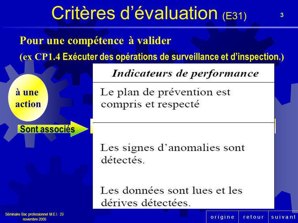 Critères d'évaluation (E31)
