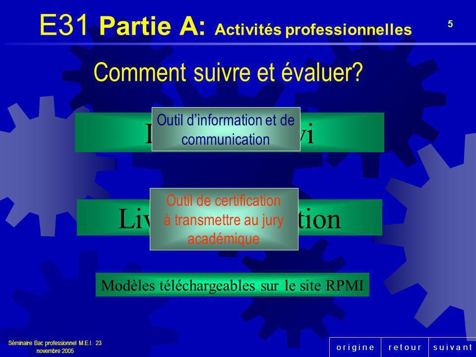 E31 Partie A: Activités professionnelles
