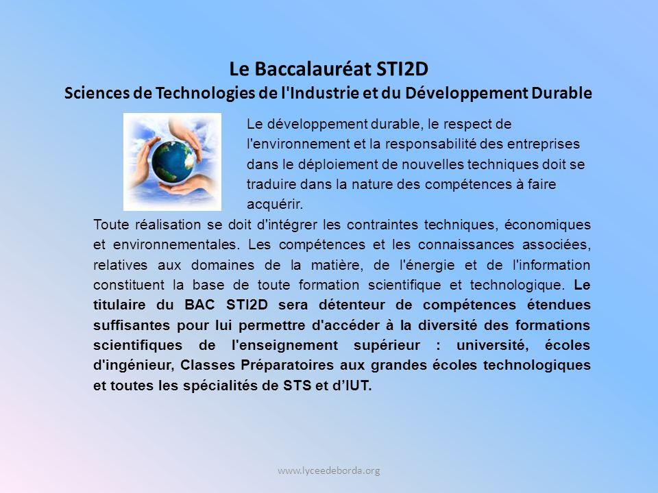 Sciences de Technologies de l Industrie et du Développement Durable