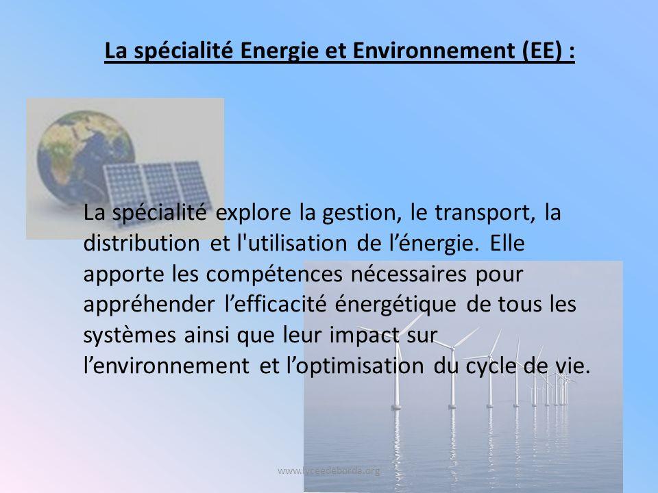 La spécialité Energie et Environnement (EE) :