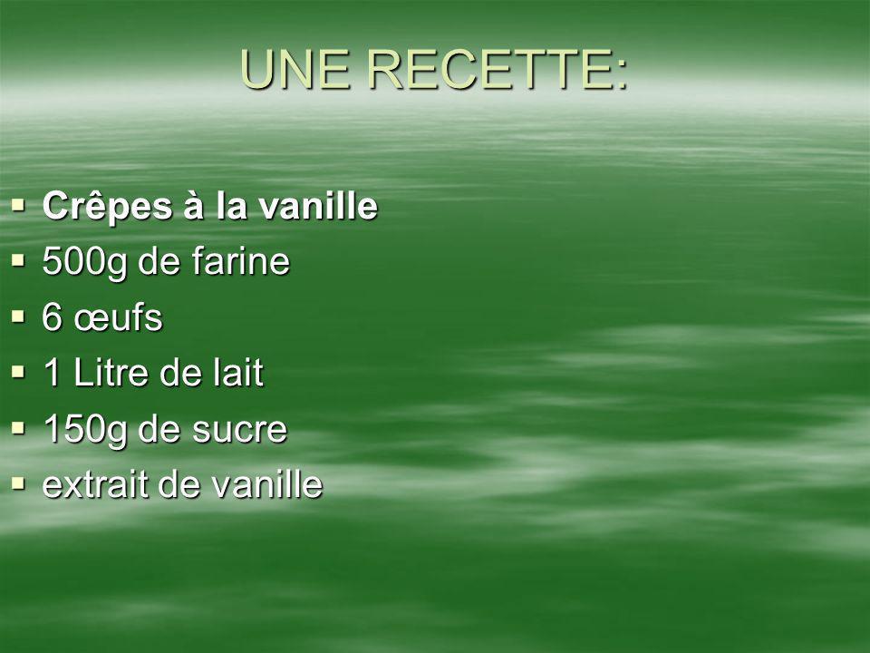 UNE RECETTE: Crêpes à la vanille 500g de farine 6 œufs 1 Litre de lait