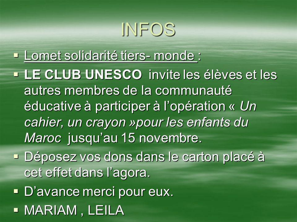INFOS Lomet solidarité tiers- monde :