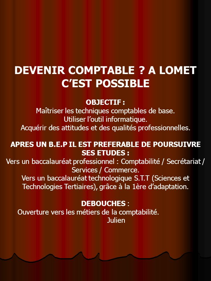 DEVENIR COMPTABLE A LOMET C'EST POSSIBLE