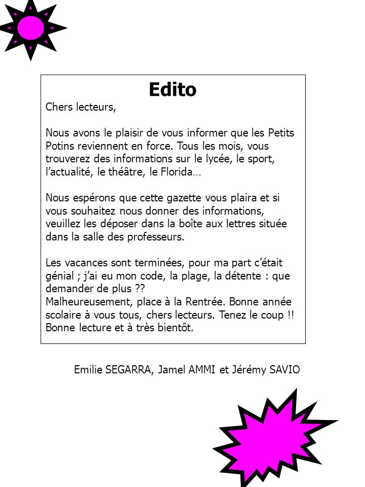 Edito Chers lecteurs,