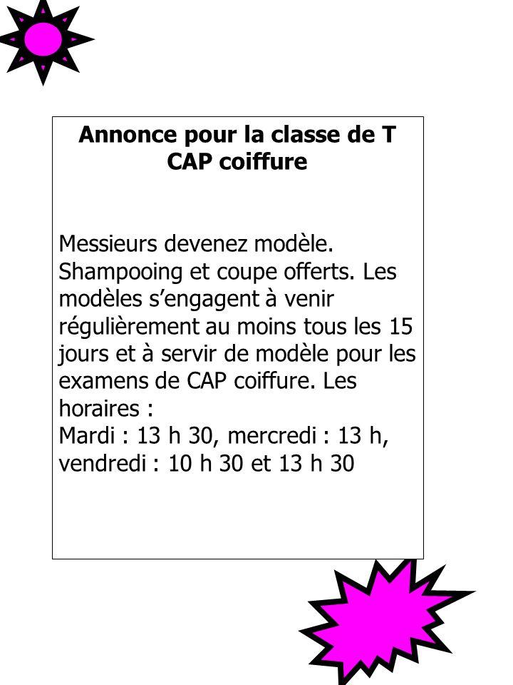 Annonce pour la classe de T CAP coiffure