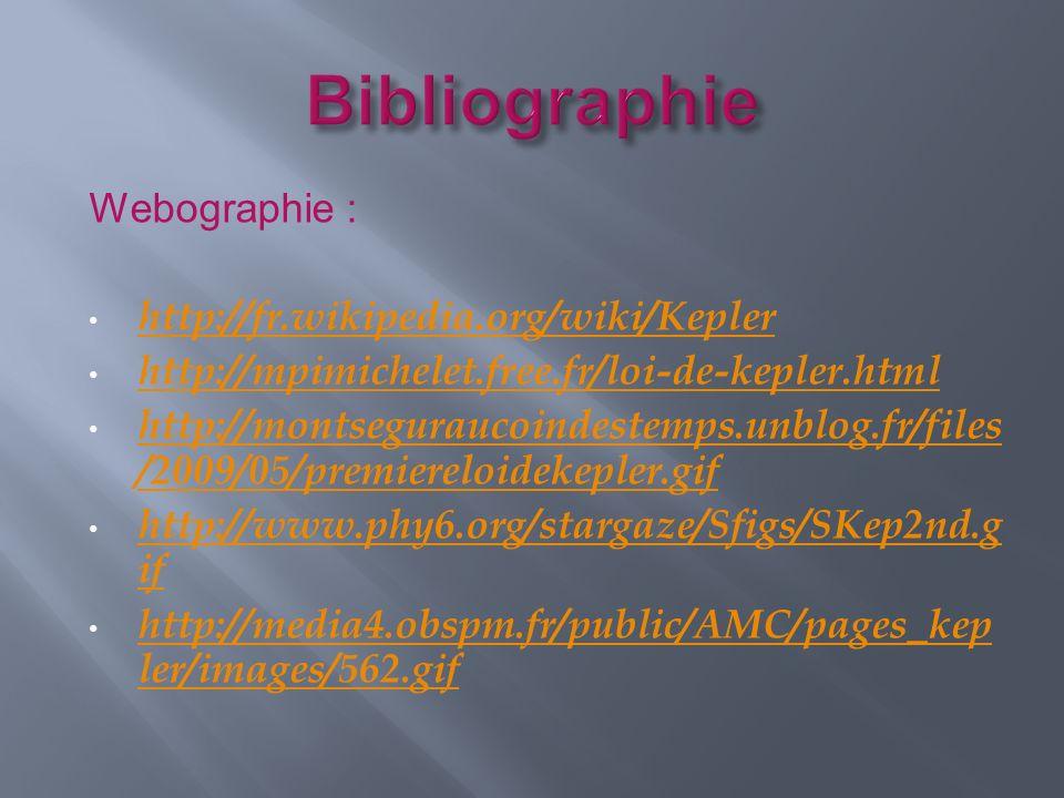 Bibliographie Webographie : http://fr.wikipedia.org/wiki/Kepler