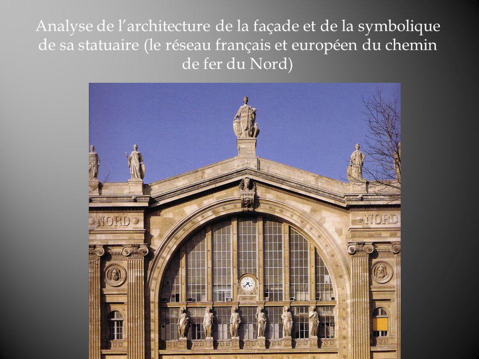 Analyse de l'architecture de la façade et de la symbolique de sa statuaire (le réseau français et européen du chemin de fer du Nord)