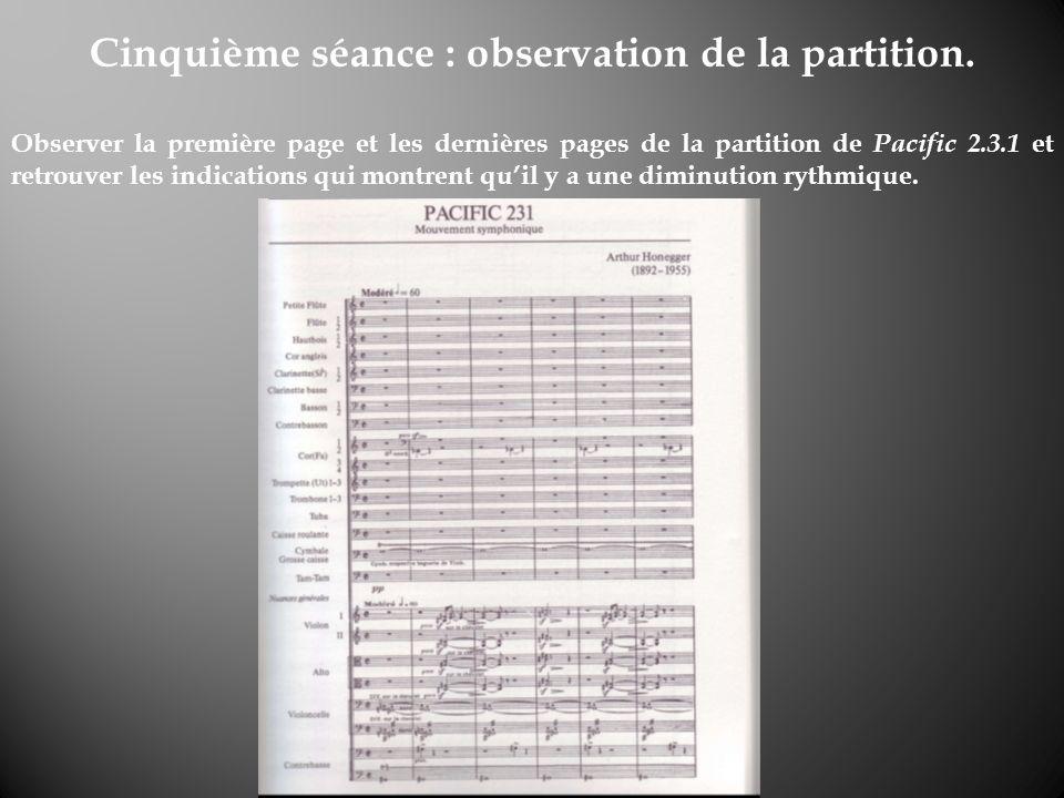 Cinquième séance : observation de la partition.