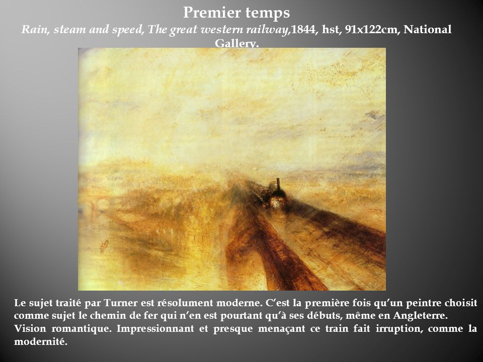 Premier tempsRain, steam and speed, The great western railway,1844, hst, 91x122cm, National Gallery.