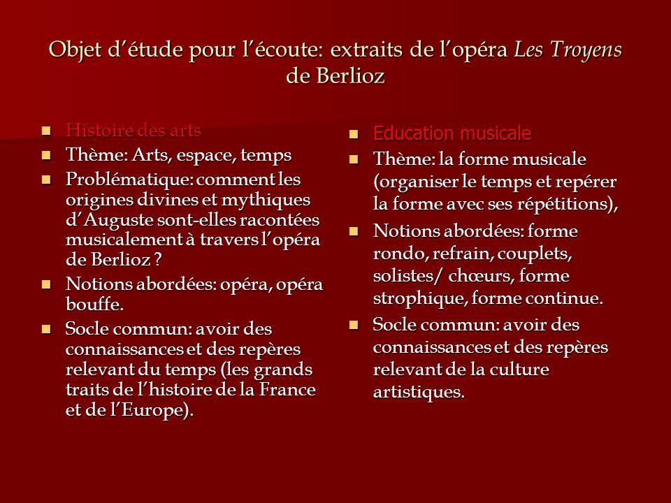 Objet d'étude pour l'écoute: extraits de l'opéra Les Troyens de Berlioz