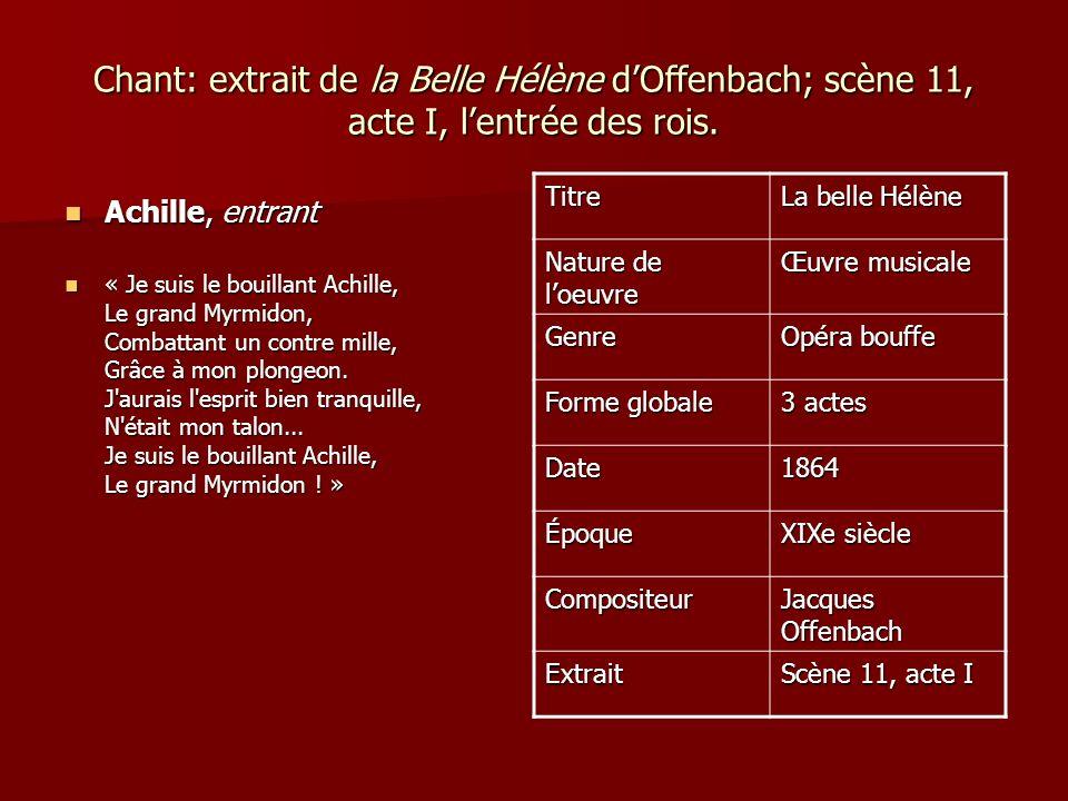 Chant: extrait de la Belle Hélène d'Offenbach; scène 11, acte I, l'entrée des rois.