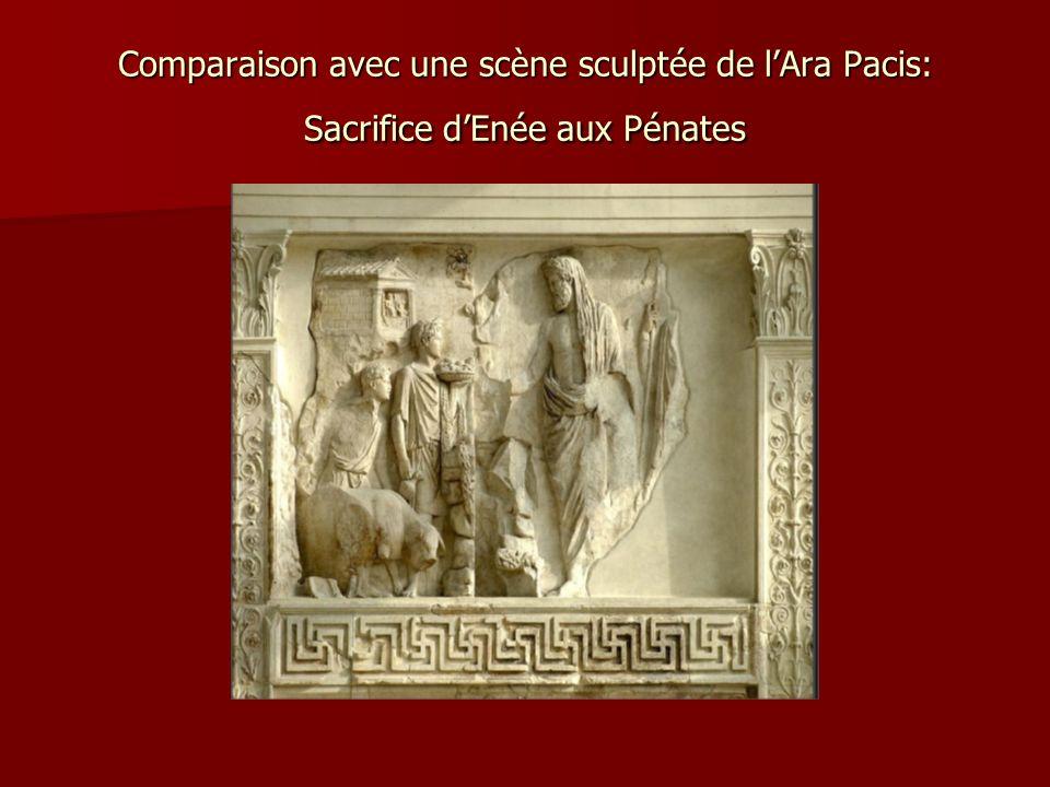 Comparaison avec une scène sculptée de l'Ara Pacis: Sacrifice d'Enée aux Pénates
