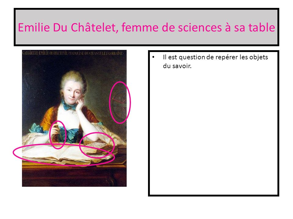 Emilie Du Châtelet, femme de sciences à sa table