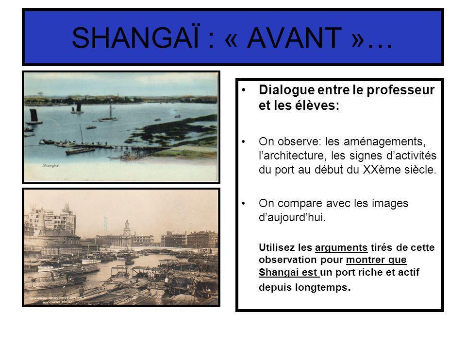 SHANGAÏ : « AVANT »… Dialogue entre le professeur et les élèves: