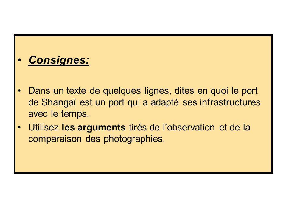 Consignes: Dans un texte de quelques lignes, dites en quoi le port de Shangaï est un port qui a adapté ses infrastructures avec le temps.