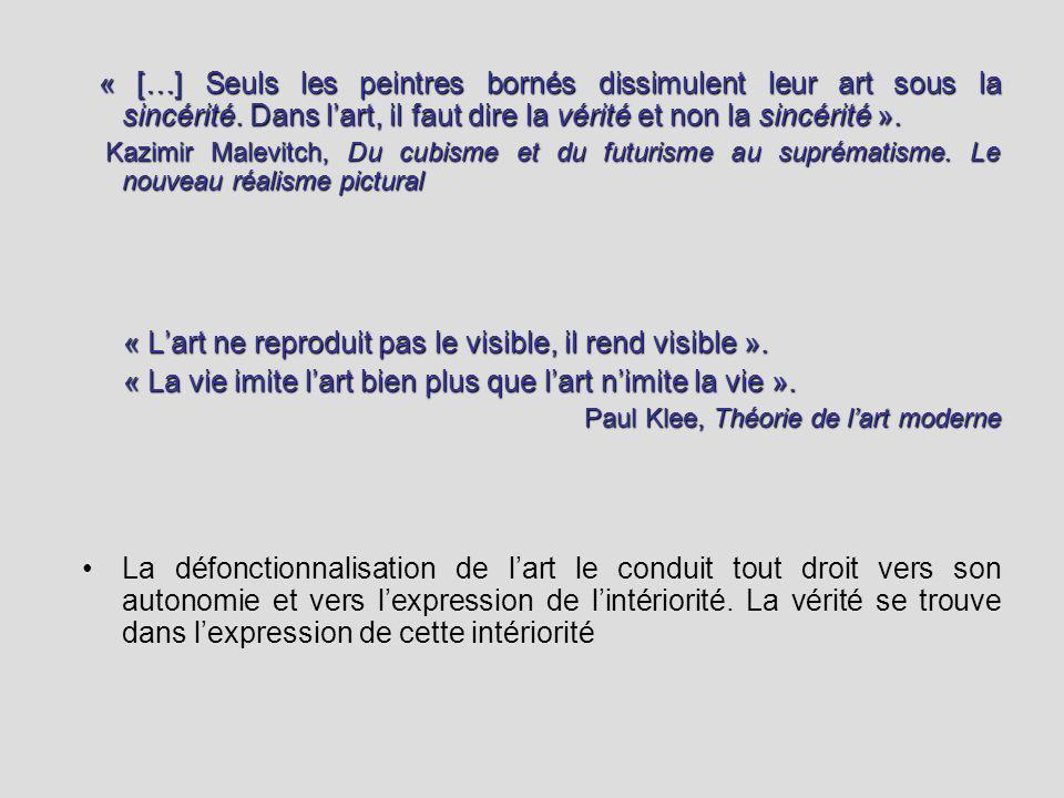 « L'art ne reproduit pas le visible, il rend visible ».