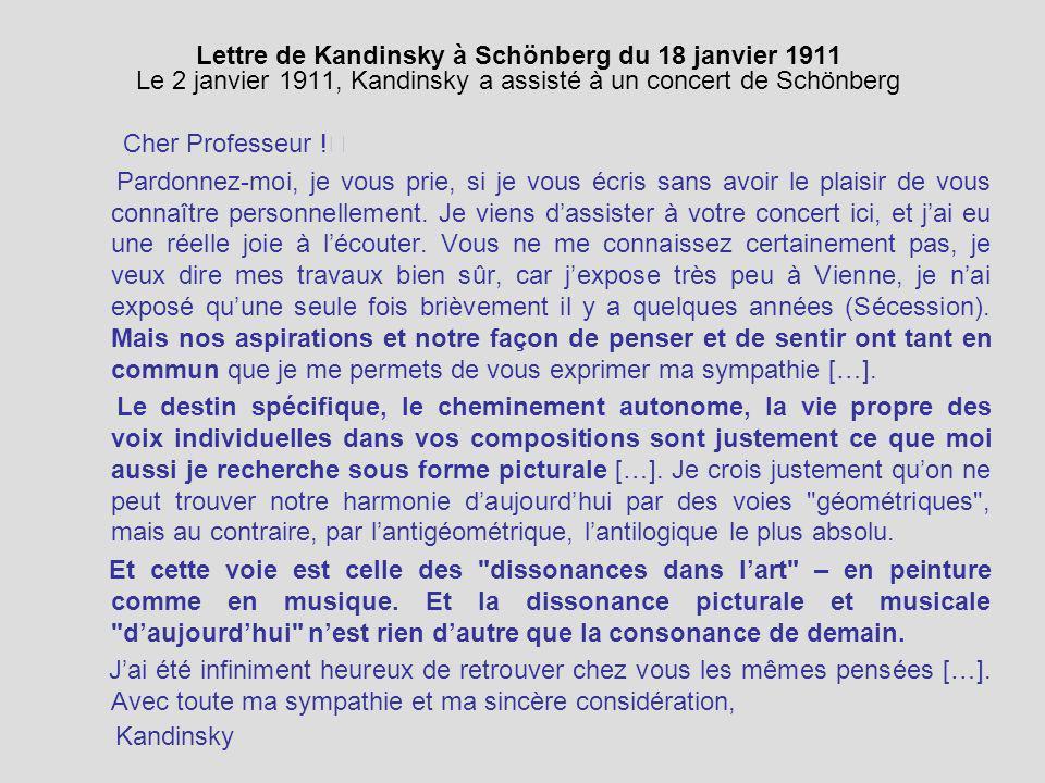 Lettre de Kandinsky à Schönberg du 18 janvier 1911 Le 2 janvier 1911, Kandinsky a assisté à un concert de Schönberg