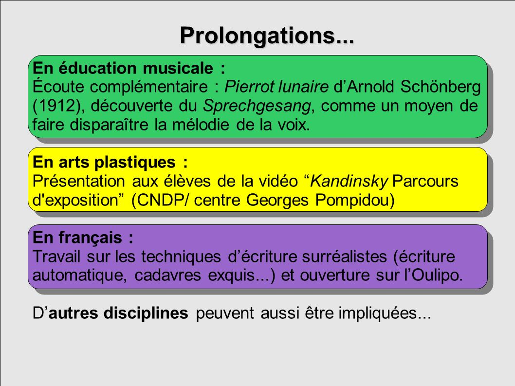 Prolongations... En éducation musicale :