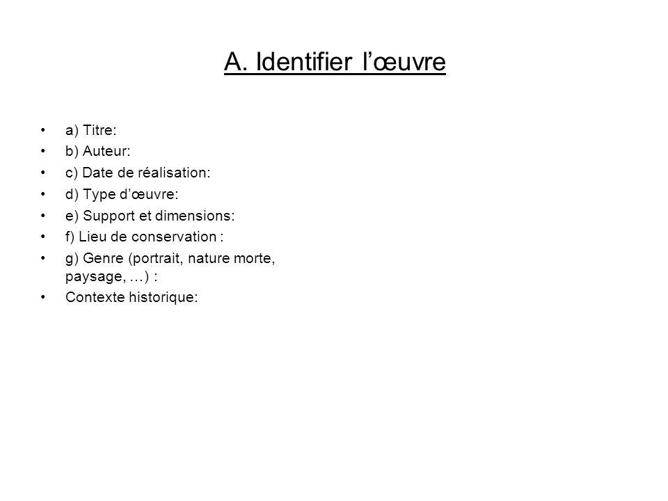 A. Identifier l'œuvre a) Titre: b) Auteur: c) Date de réalisation: