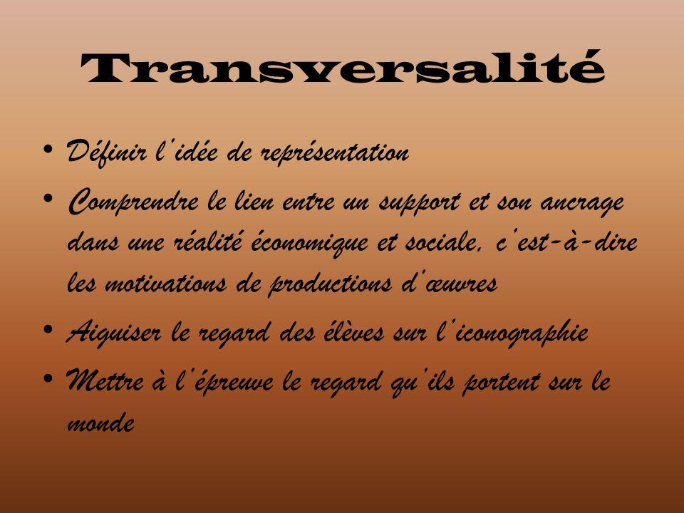 Transversalité Définir l'idée de représentation