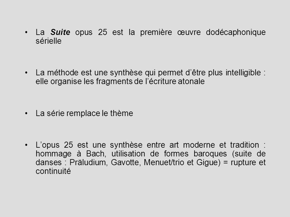 La Suite opus 25 est la première œuvre dodécaphonique sérielle