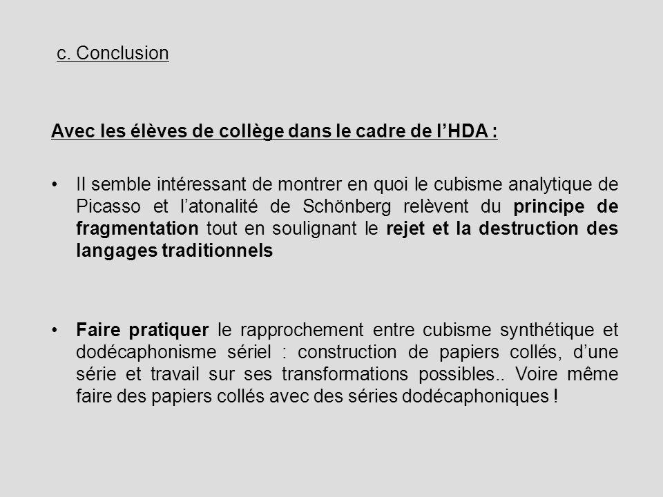 c. Conclusion Avec les élèves de collège dans le cadre de l'HDA :
