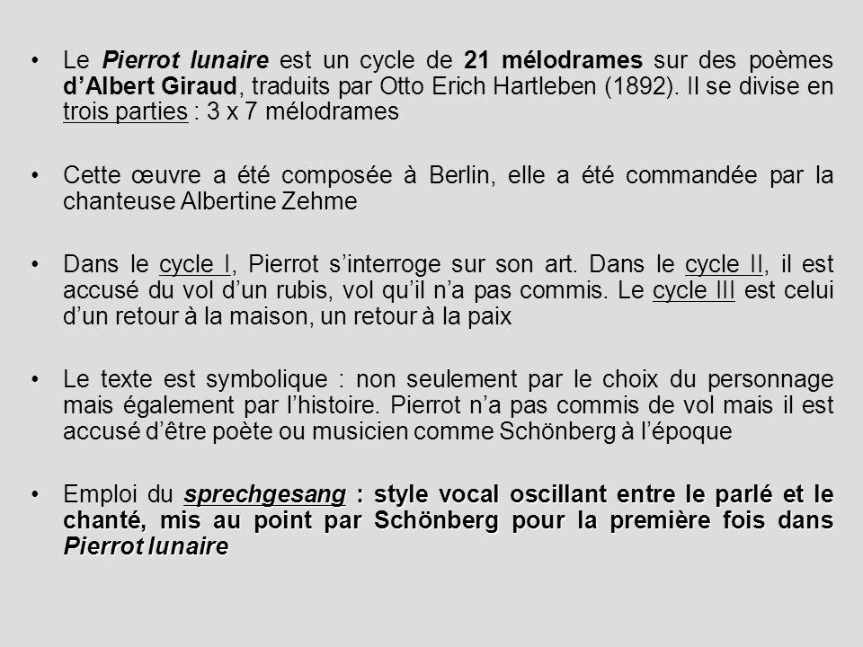 Le Pierrot lunaire est un cycle de 21 mélodrames sur des poèmes d'Albert Giraud, traduits par Otto Erich Hartleben (1892). Il se divise en trois parties : 3 x 7 mélodrames