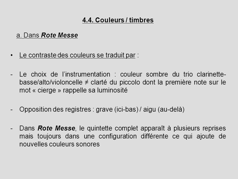 4.4. Couleurs / timbres a. Dans Rote Messe. Le contraste des couleurs se traduit par :