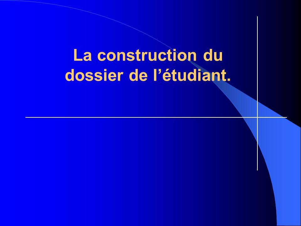 La construction du dossier de l'étudiant.