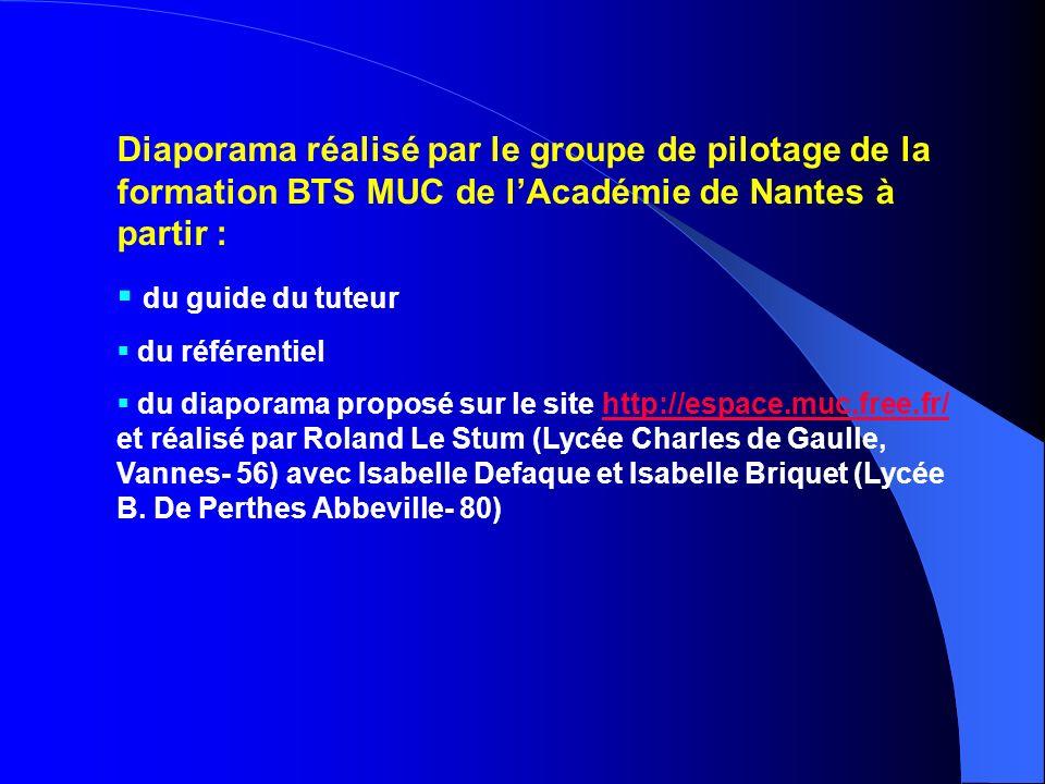Diaporama réalisé par le groupe de pilotage de la formation BTS MUC de l'Académie de Nantes à partir :