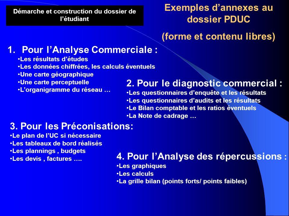 Exemples d'annexes au dossier PDUC (forme et contenu libres)