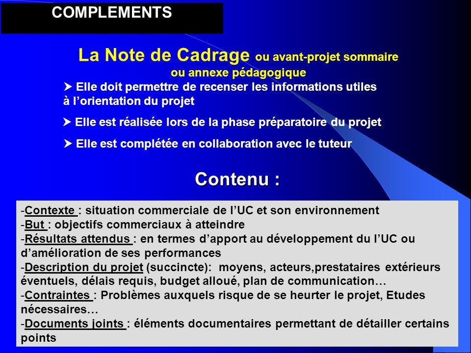 La Note de Cadrage ou avant-projet sommaire