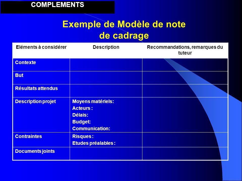 Exemple de Modèle de note de cadrage