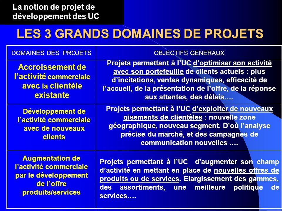 LES 3 GRANDS DOMAINES DE PROJETS