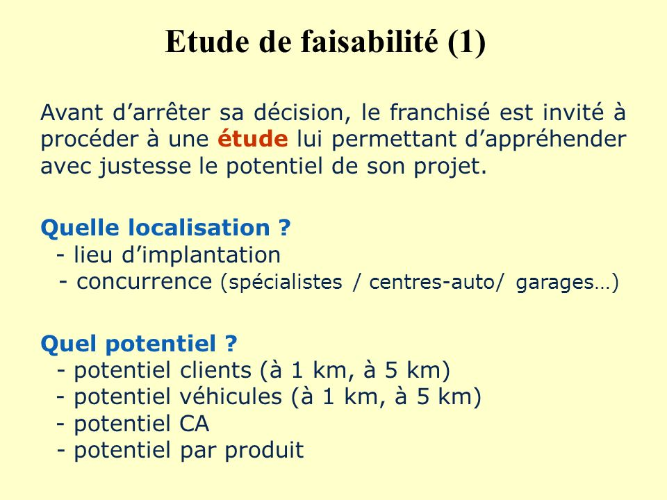 Etude de faisabilité (1)
