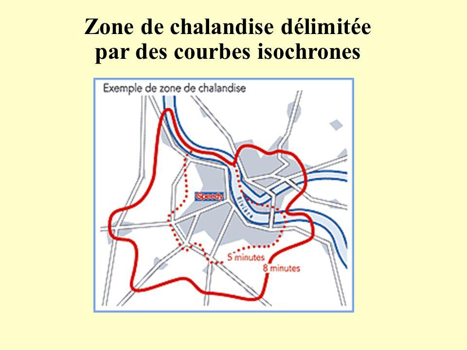 Zone de chalandise délimitée par des courbes isochrones