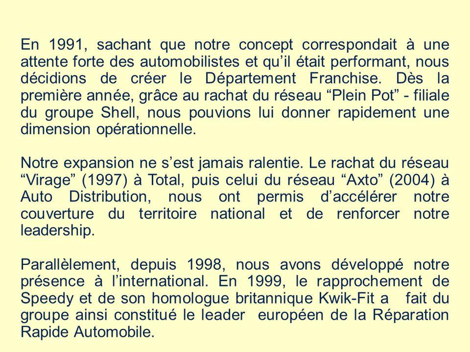 En 1991, sachant que notre concept correspondait à une attente forte des automobilistes et qu'il était performant, nous décidions de créer le Département Franchise. Dès la première année, grâce au rachat du réseau Plein Pot - filiale du groupe Shell, nous pouvions lui donner rapidement une dimension opérationnelle.
