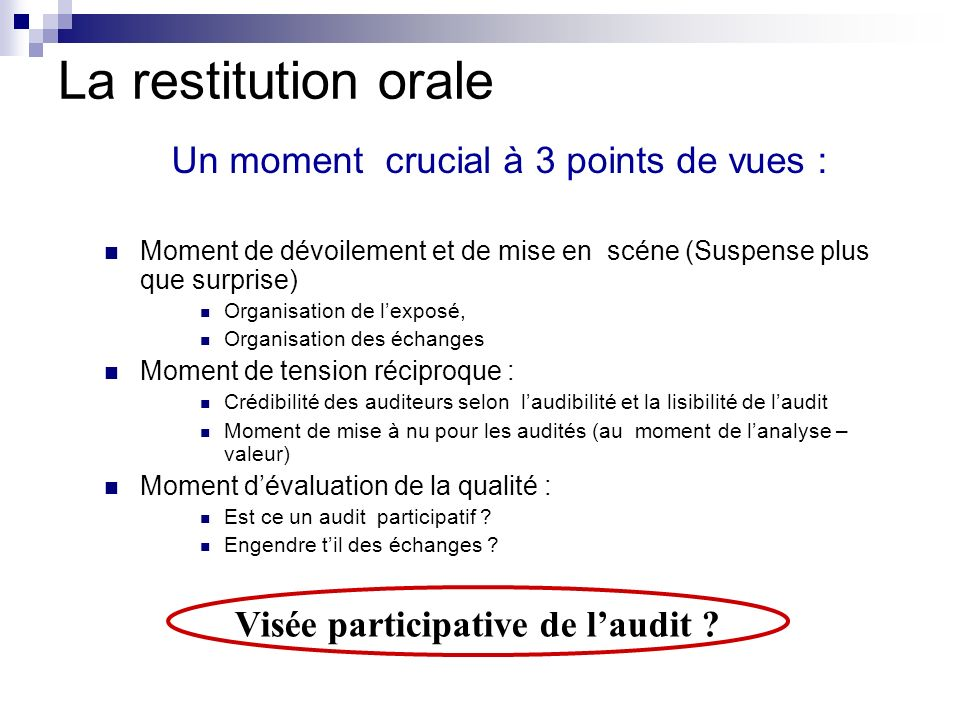 Visée participative de l'audit