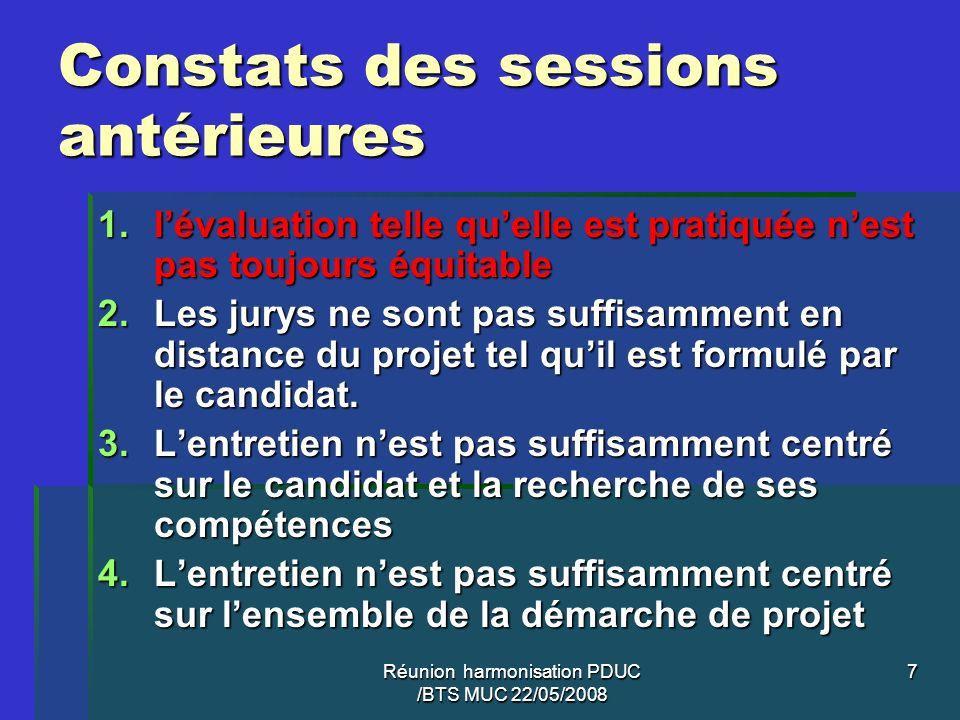 Constats des sessions antérieures
