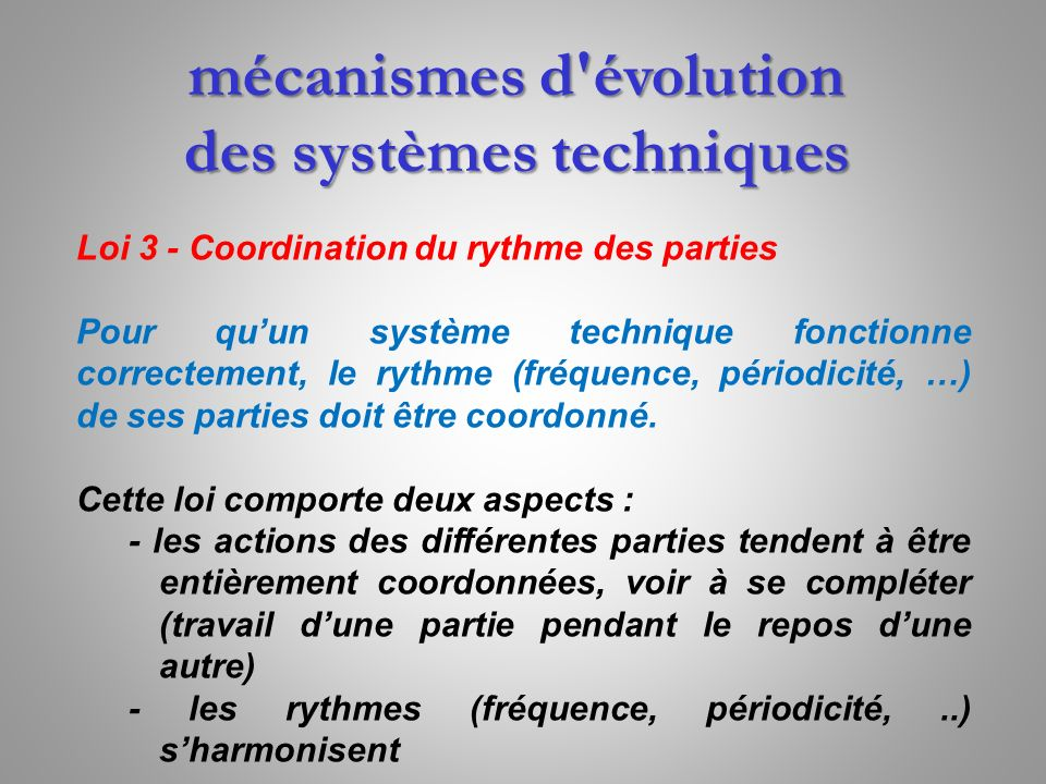 mécanismes d évolution des systèmes techniques