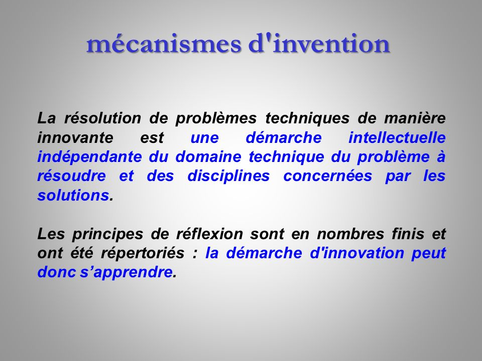 mécanismes d invention