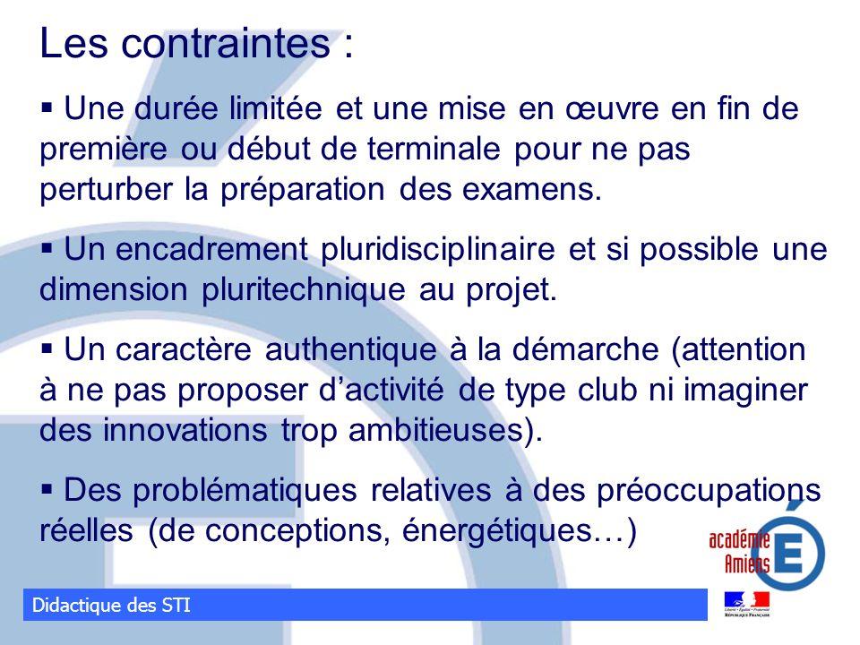 Les contraintes : Une durée limitée et une mise en œuvre en fin de première ou début de terminale pour ne pas perturber la préparation des examens.