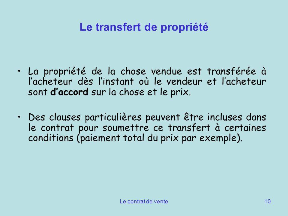 Le transfert de propriété