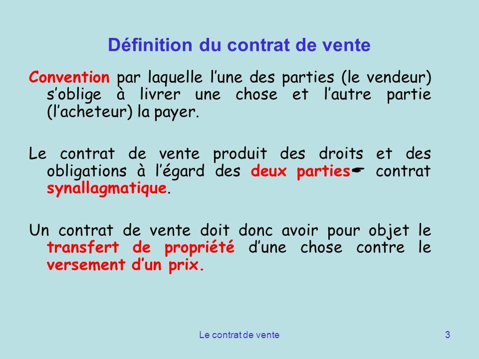 Définition du contrat de vente
